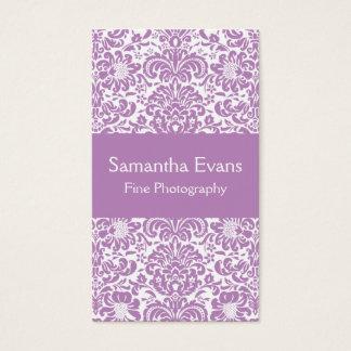 Carte de visite lilas et blanc de damassé