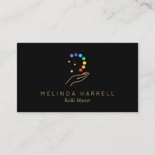 Carte De Visite Logo Curatif Reiki Massage Noir Main Sante