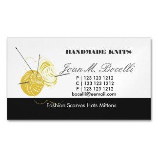 Carte De Visite Magnétique Artiste jaune de métier de fil de crochet de