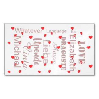 Carte De Visite Magnétique Coeurs de Valentine en le rose et le rouge