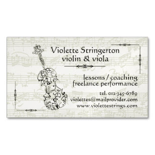 Carte De Visite Magnetique Contexte Violoniste Ou Violist Bach Dessin