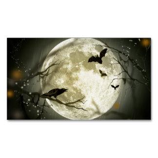 Carte De Visite Magnétique Corneilles éffrayantes de lune de Halloween