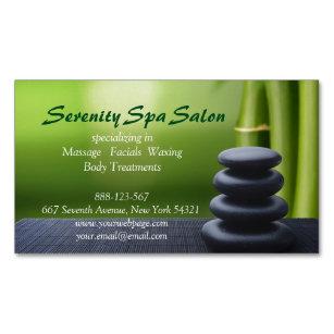 Carte De Visite Magnetique Salon En Pierre Noir Bambou Spa Massage