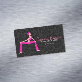 Carte De Visite Magnétique Silhouette de pose de yoga de rose et de teints