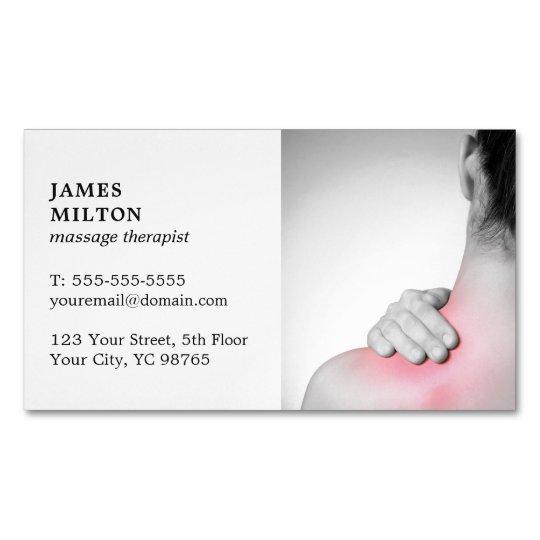 Carte De Visite Magnetique Therapeute Elegant Moderne Massage Photo