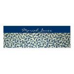 Carte de visite maigre floral bleu et blanc de pro