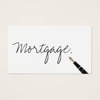 Carte de visite manuscrit d'agent d'hypothèque