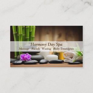 Carte De Visite Massage En Bambou Spa Zen Dhuile Fleur