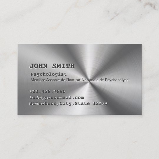 Carte De Visite Metal Dacier Inoxydable Faux Psychologue