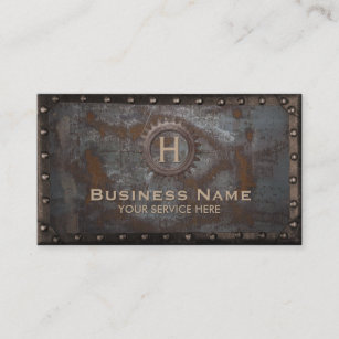 Carte De Visite Metal Rouille Monogramme Vintage