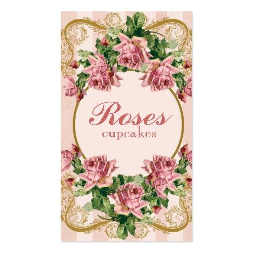 Carte de visite minable vintage de roses