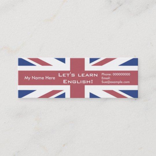 Carte De Visite Mini Anglais Enseignement Cartons Publicitaires
