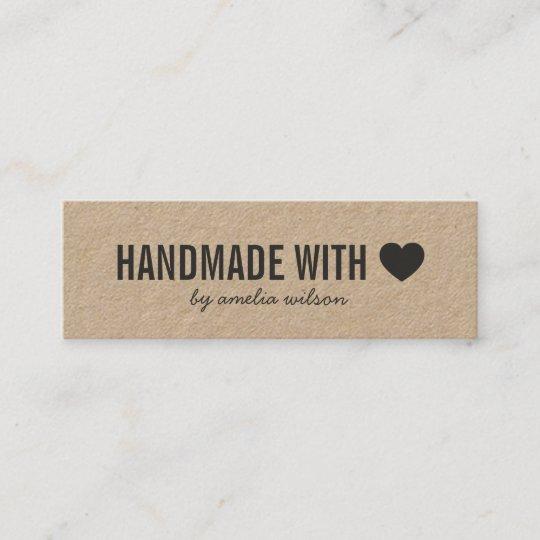 Carte De Visite Mini Fait Main Rustique Coeur Simple Avec Amour