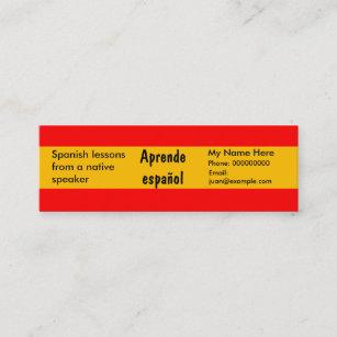 Carte De Visite Mini Langue Espagnole Enseignement Cartons