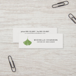 Carte De Visite Mini Nature Verte Simple Feuille Ginkgo