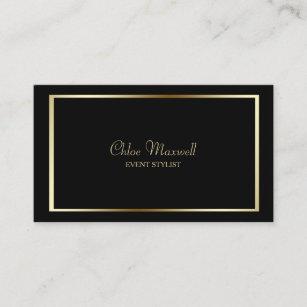 Carte De Visite Minimaliste Exquis Cadre Dor Sur Le Noir