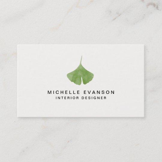 Carte De Visite Minimaliste Simple Nature Feuille Ginkgo