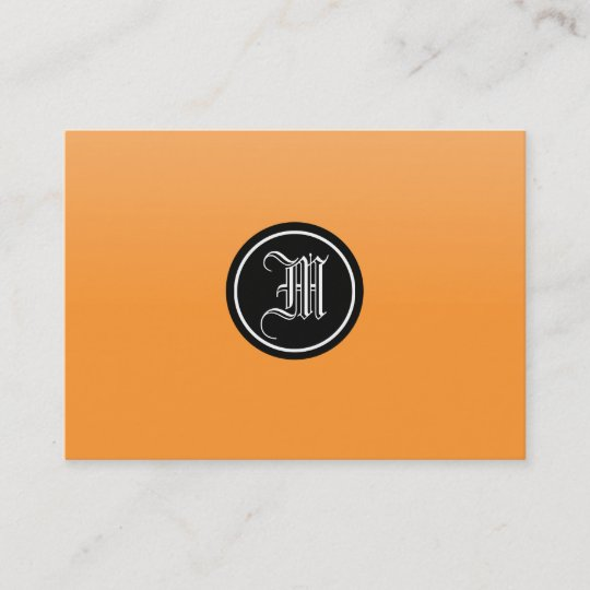 Carte De Visite Monogramme Gothique Orange