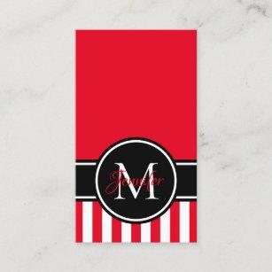 Carte De Visite Monogramme Rouge Et Blanc Noir Motif