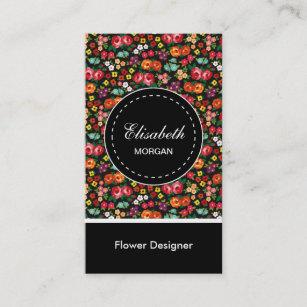 Carte De Visite Motif Floral Colore Concepteur Fleur