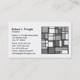 Carte De Visite Motif Inspir Par Mondrian Gris Multiple Blanc