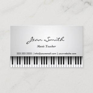 Carte De Visite Musical Blanc Chic Piano Professeur