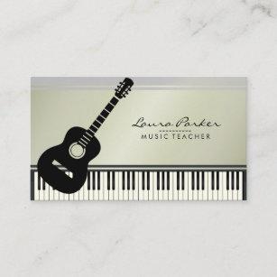 Carte De Visite Musicien Clavier Piano Guitare