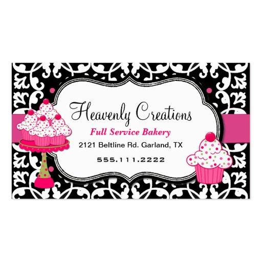 Carte de visite noir, blanc, et rose de boulangeri