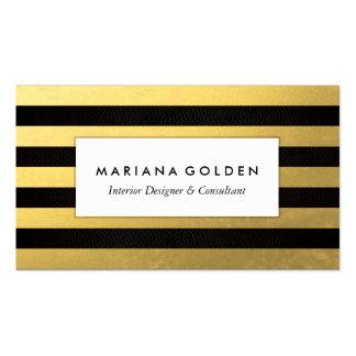 Carte de visite noir de rayure de feuille d'or