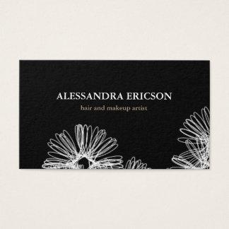Carte de visite noir et blanc de frénésie florale