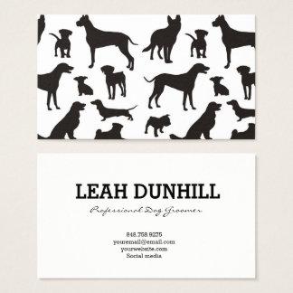 Carte de visite noir et blanc de motif de chien