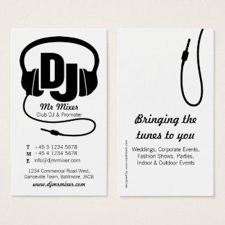 Carte de visite noir et blanc d'instigateur du DJ