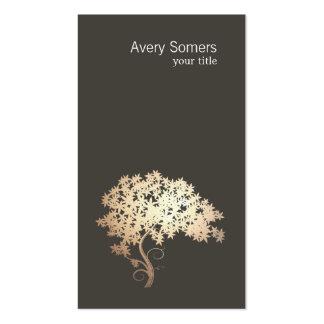 Carte de visite noir simple d'arbre élégant d'or