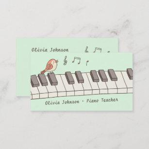 Carte De Visite Oiseau Chant Sur Le Professeur Piano