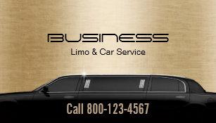Carte De Visite Or Moderne Service Limousine Et Voiture