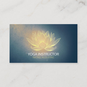 Carte De Visite Or Rougeoyant Lotus Et Instructeur Grunge Bleu