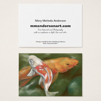 Carte de visite orange et blanc d'artiste de Koi