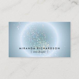 Carte De Visite Organisateur Cleste Bleu Cercle Confettis