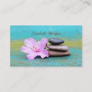 Carte De Visite Pierres Zen Therapeute Psychologue Fleur