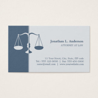 Carte de visite professionnel (bleu) d'avocat de