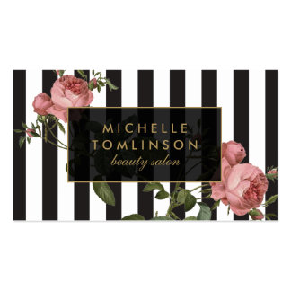 Carte de visite rayé floral vintage de salon