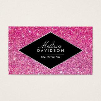 Carte de visite rose de beauté de scintillement et