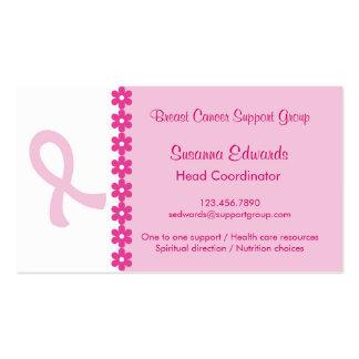 Carte de visite rose de cancer du sein de ruban