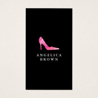 Carte de visite rose de chaussure de talon haut