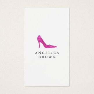 Carte de visite rose de chaussure de talon haut de