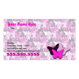 Carte de visite rose de papillon