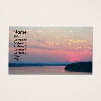 Carte de visite rose de photo de paysage marin
