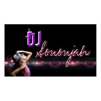 Carte de visite rose de soirée dansante du DJ de p