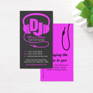 Carte de visite rose et noir d'instigateur du DJ