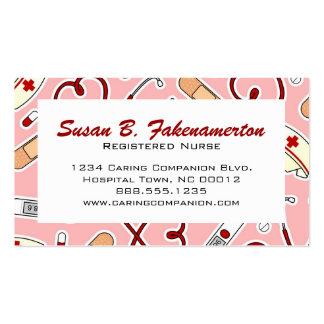 Carte de visite rose mignon d'infirmière ou de tra